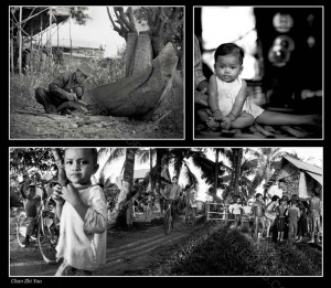 A triptych showing the lifestyle of the Khmers, taken with a Hassy and Pano cameras