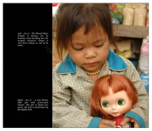 A cute Khmer little girl with green eyed Ginger. The girl is about two years old and is fascinated by the Blythe Doll