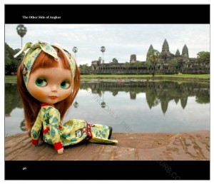 "Ginger woke up very early in the morning to capture sunrise at the Angkor Wat. Here she poses in front of Angkor Wat's reflecting pool. She says "" I am so sleepy and can hardly keep my eyes open."" And she was probably speaking for everyone else too, who got out of bed at 4.30am just to be ready to shoot the sunrise at Angkor Wat"