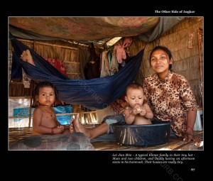A typical Khmer family in their hut. A mum with her 2 kids