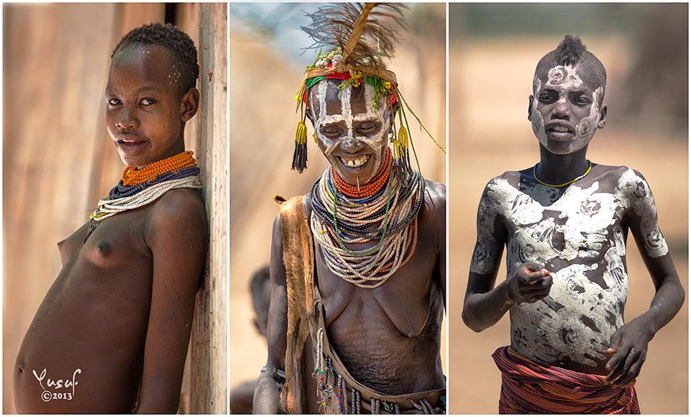 Triptych of tribal people from the Omo Valley