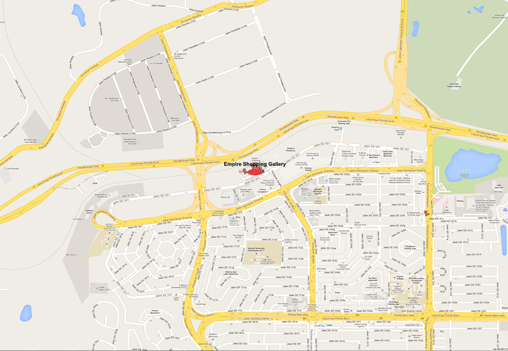 Location map of Empire Gallery, Subang Jaya