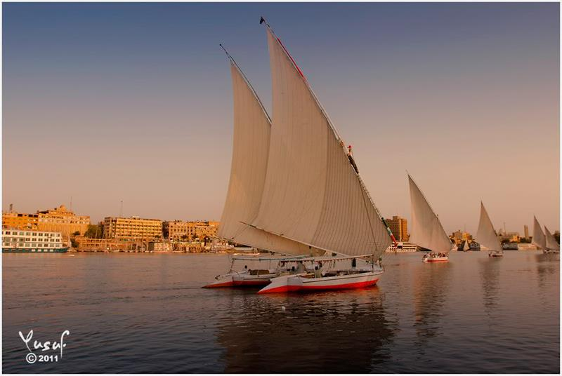 On a Fellucca at Dusk on the Nile, at Aswan, Egypt.