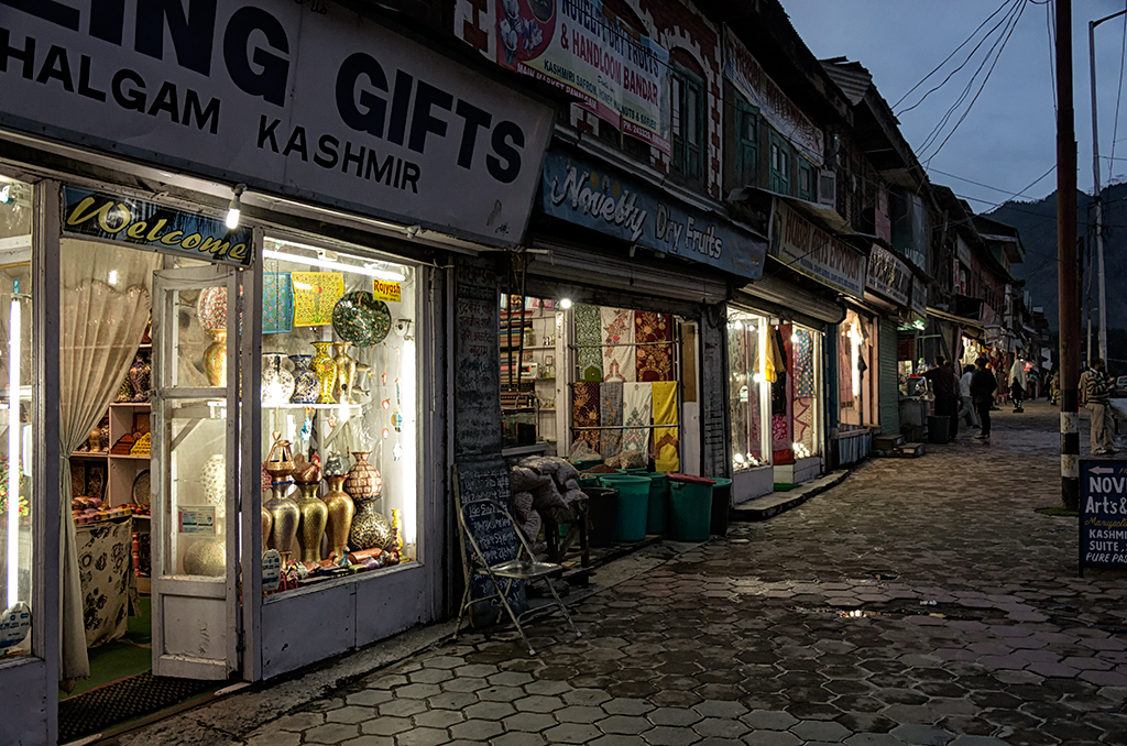 Pahalgam Town in the evening. Shops here sell souvenirs catering to the tourists.