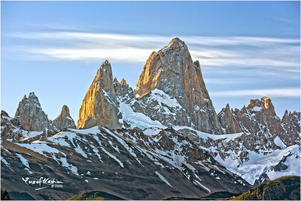 A closer view of Cerro Chalten, or Mt Fitzroy, in the Patagonia of Argentina
