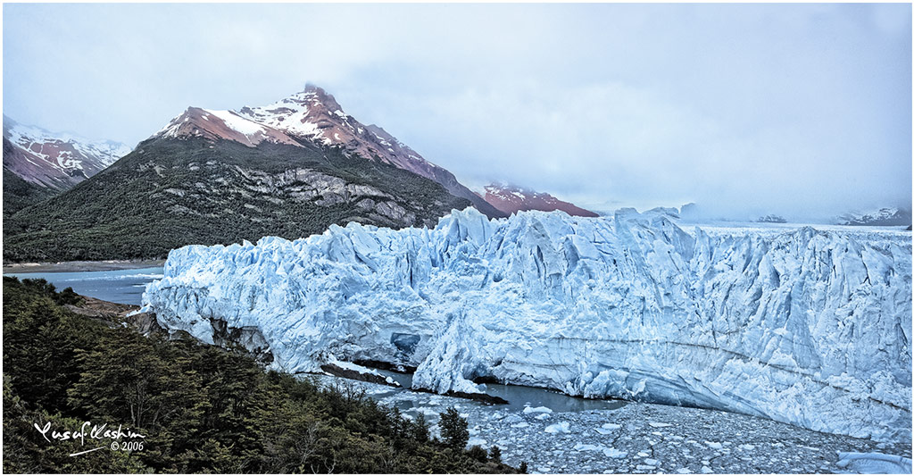 The Right shoulder of the Perito Moreno Glacier in Patagonia