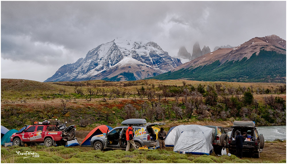 My Campsite below the Tres Torres, or Three Towers in the Torres del Paine National Park in Chile,