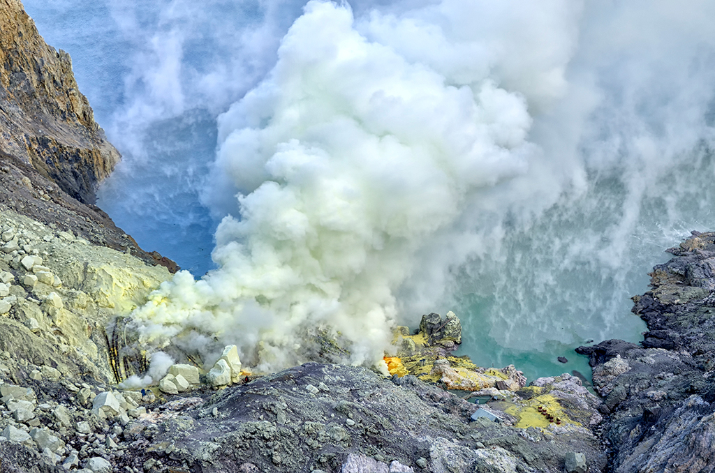 The view of Ijen Sulphur Mines where you need to battle the noxious gases