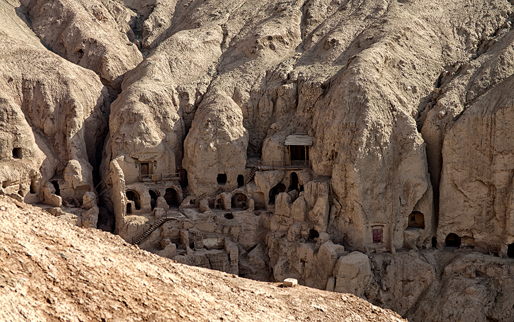 These caves dwellings in the Turpan Valley were built about five to six hundred years ago.