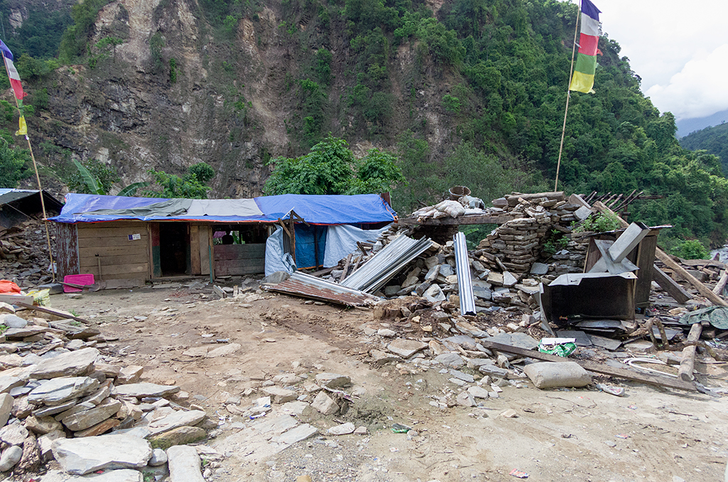 Some of the houses destroyed by the earthquake
